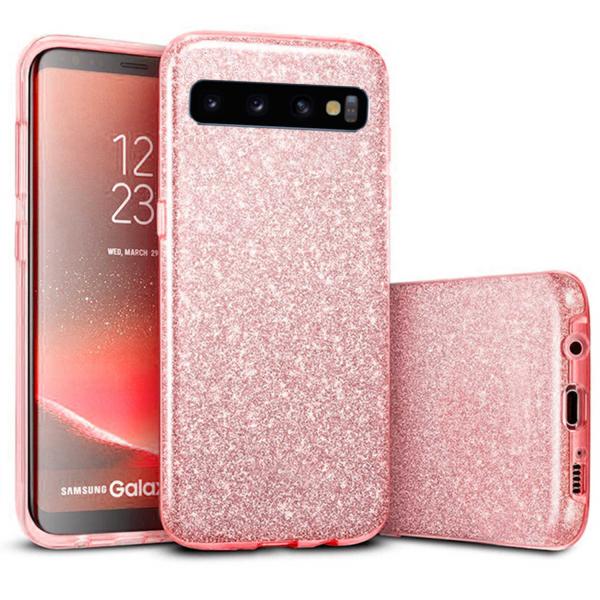 Husa Samsung Galaxy S10 2019 Color Silicon TPU Carcasa Sclipici Roz [0]
