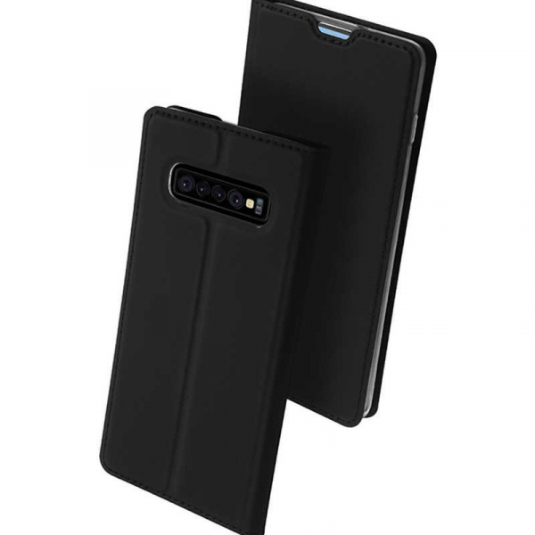 Husa Samsung Galaxy S10 2019 Toc Flip Tip Carte Portofel Piele Eco Premium DuxDucis Negru [1]
