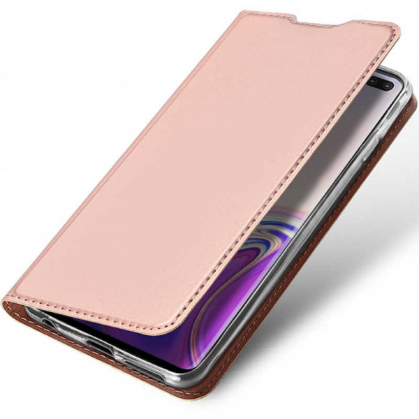 Husa Samsung Galaxy S10 2019 Toc Flip Tip Carte Portofel Piele Eco Premium DuxDucis Roz [3]