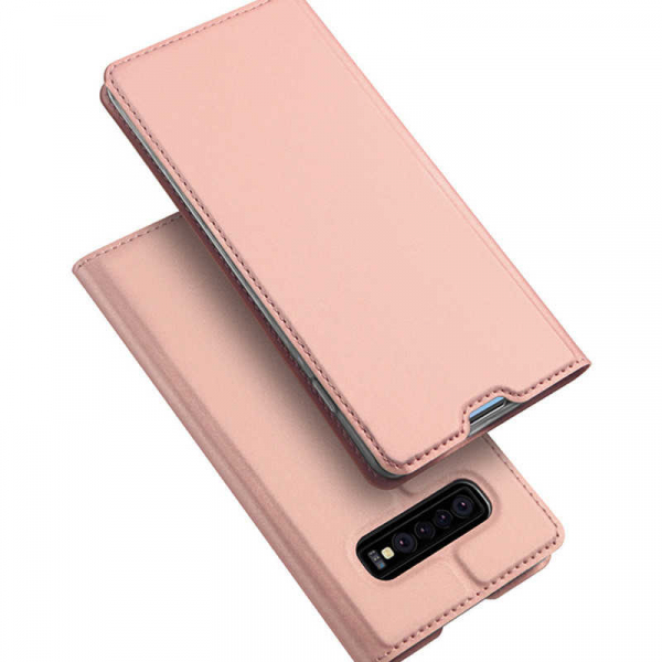 Husa Samsung Galaxy S10 2019 Toc Flip Tip Carte Portofel Piele Eco Premium DuxDucis Roz [4]