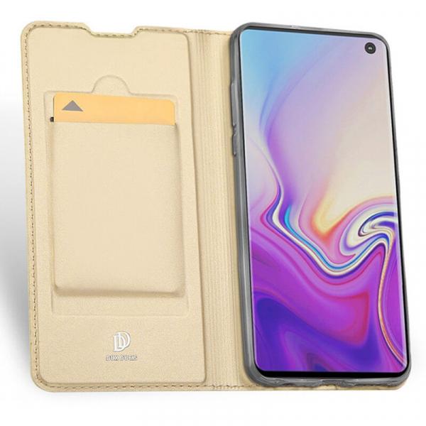 Husa Samsung Galaxy S10 E 2019 Toc Flip Portofel Auriu Piele Eco DuxDucis 1