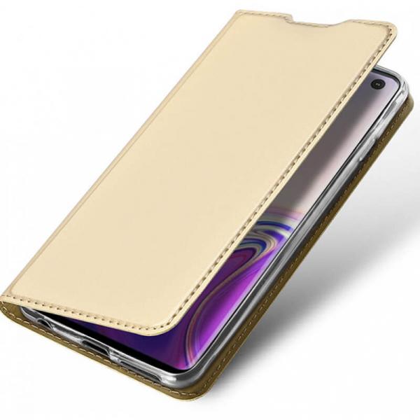 Husa Samsung Galaxy S10 E 2019 Toc Flip Portofel Auriu Piele Eco DuxDucis 4