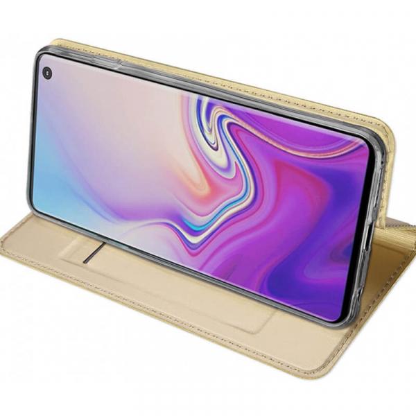 Husa Samsung Galaxy S10 E 2019 Toc Flip Portofel Auriu Piele Eco DuxDucis 2