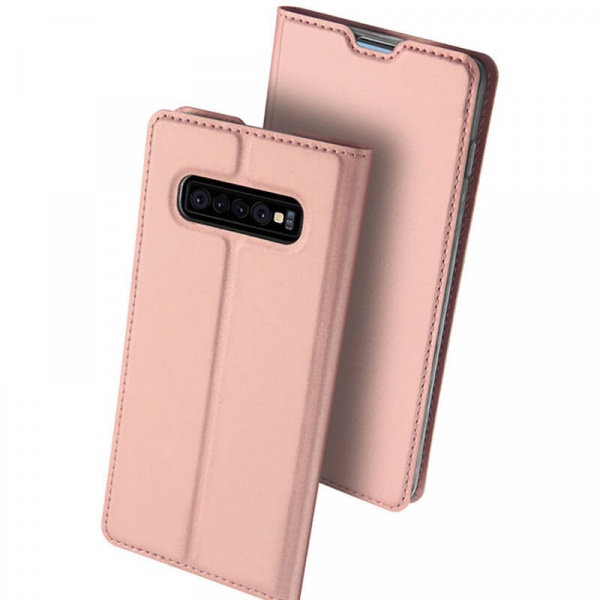 Husa Samsung Galaxy S10 E 2019 Toc Flip Portofel Roz Piele Eco DuxDucis [0]