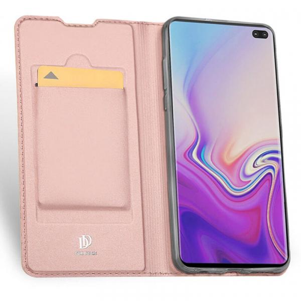 Husa Samsung Galaxy S10 E 2019 Toc Flip Portofel Roz Piele Eco DuxDucis [1]