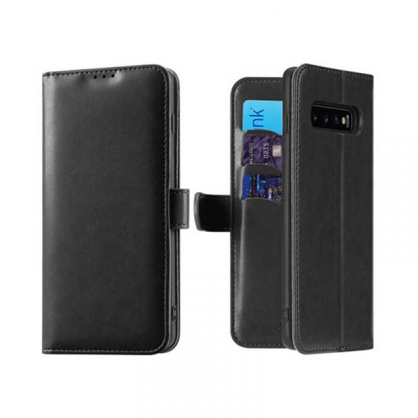 Husa Samsung Galaxy S10 Plus 2019 Toc Flip Tip Carte Portofel Negru Piele Eco Premium DuxDucis Kado [0]