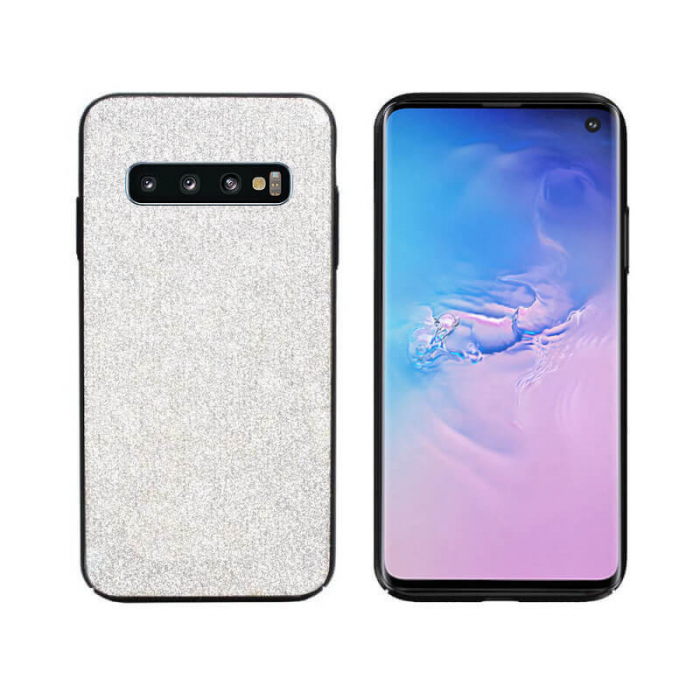 Husa Samsung Galaxy S10 Sclipici Argintiu Carcasa Spate Dot [0]