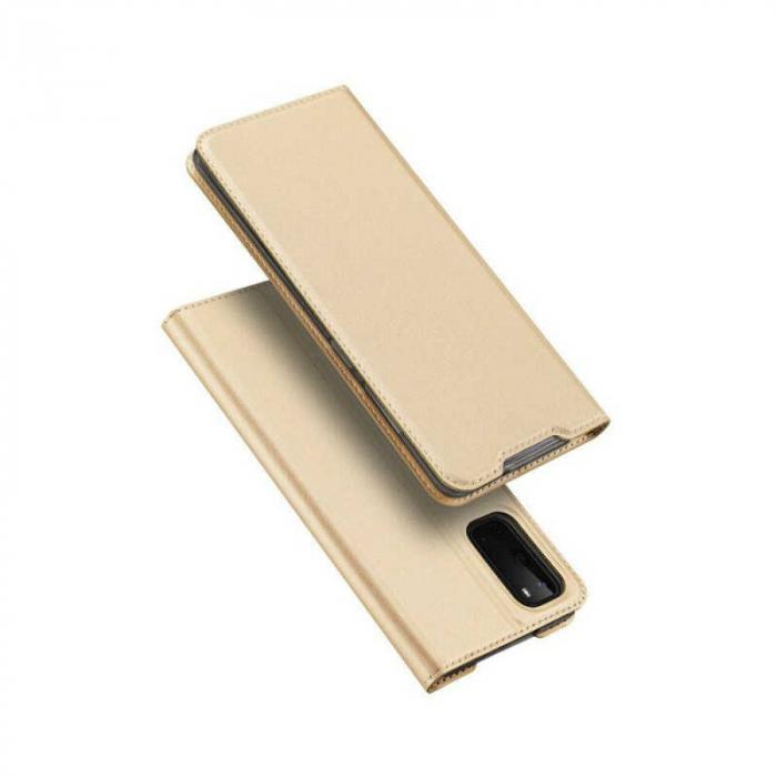 Husa Samsung Galaxy S20 2020 Toc Flip Tip Carte Portofel Auriu Gold Piele Eco DuxDucis [4]