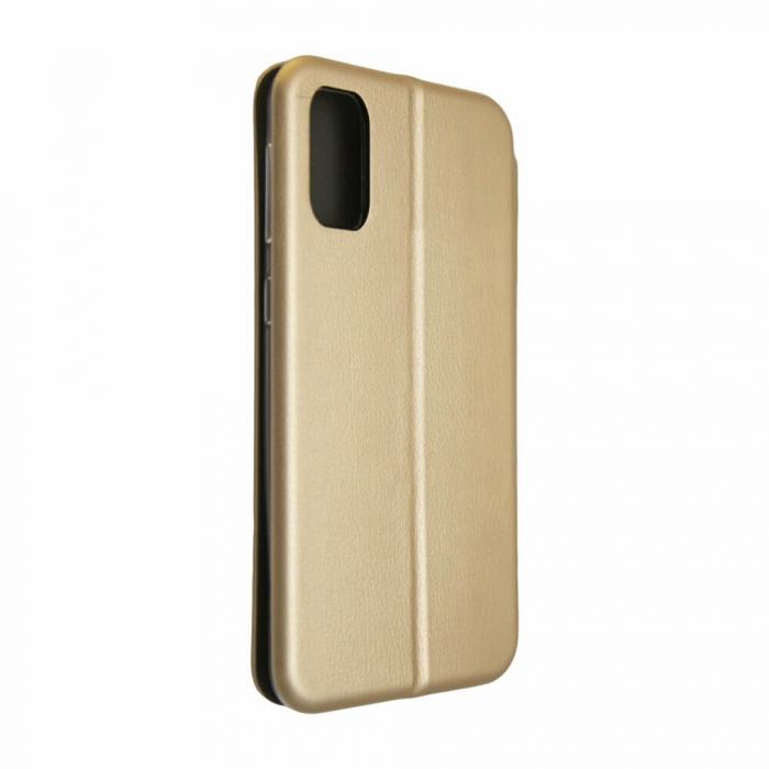 Husa Samsung Galaxy S20 FE Auriu Gold Tip Carte Flip Cover din Piele Ecologica Portofel cu Inchidere Magnetica 3
