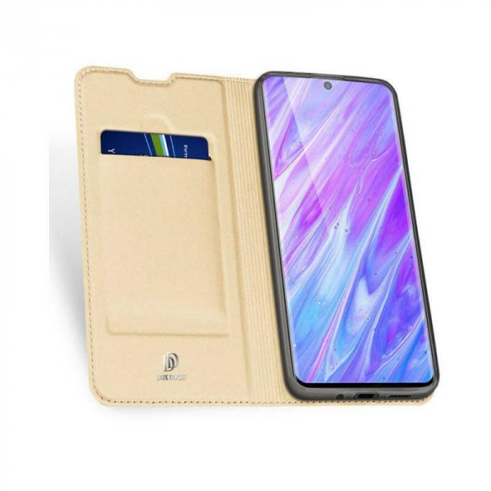 Husa Samsung Galaxy S20 Plus 2020 Toc Flip Tip Carte Portofel Auriu Gold Piele Eco DuxDucis 1