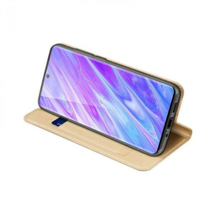Husa Samsung Galaxy S20 Plus 2020 Toc Flip Tip Carte Portofel Auriu Gold Piele Eco DuxDucis 2