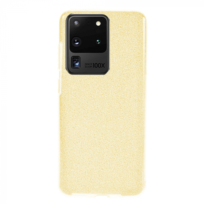 Husa Samsung Galaxy S20 Ultra 2020 Sclipici Carcasa Spate Auriu Gold Silicon TPU 0
