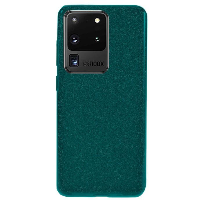 Husa Samsung Galaxy S20 Ultra 2020 Sclipici Carcasa Spate Dark Green Silicon TPU 0