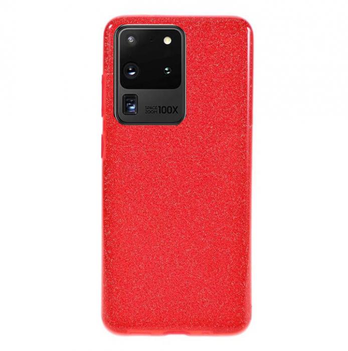 Husa Samsung Galaxy S20 Ultra 2020 Sclipici Carcasa Spate Rosu Silicon TPU 0