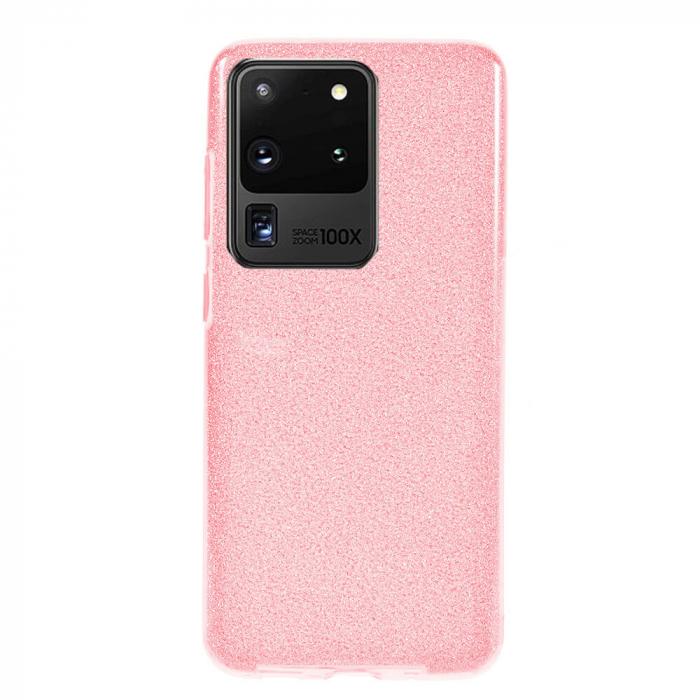 Husa Samsung Galaxy S20 Ultra 2020 Sclipici Carcasa Spate Roz Silicon TPU [0]