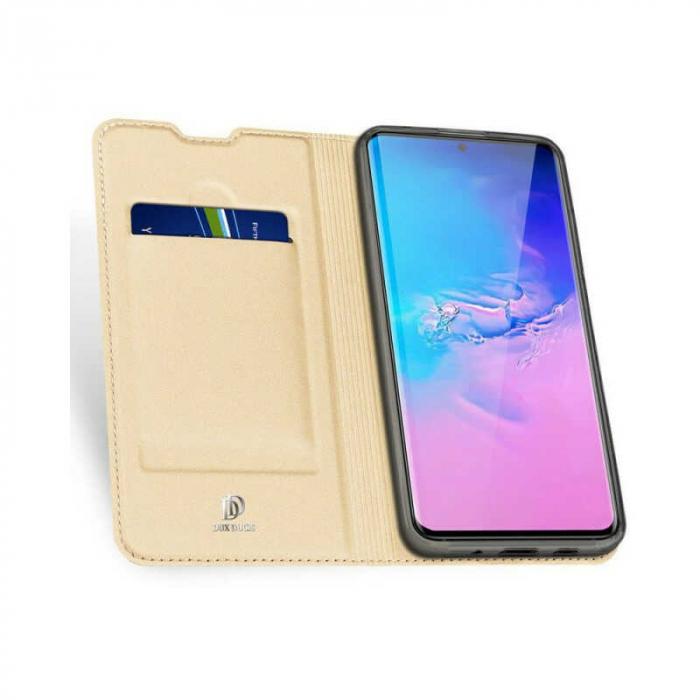 Husa Samsung Galaxy S20 Ultra 2020 Toc Flip Tip Carte Portofel Auriu Gold Piele Eco DuxDucis [1]