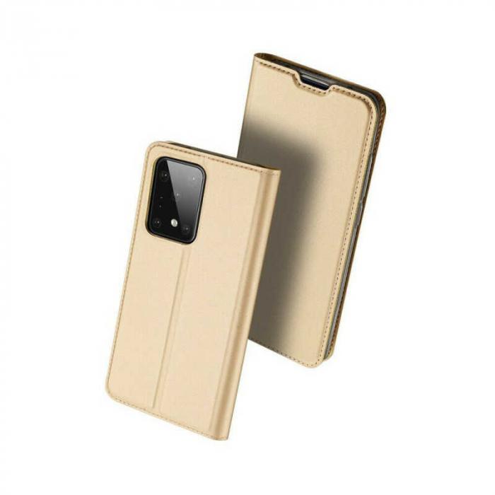 Husa Samsung Galaxy S20 Ultra 2020 Toc Flip Tip Carte Portofel Auriu Gold Piele Eco DuxDucis [0]
