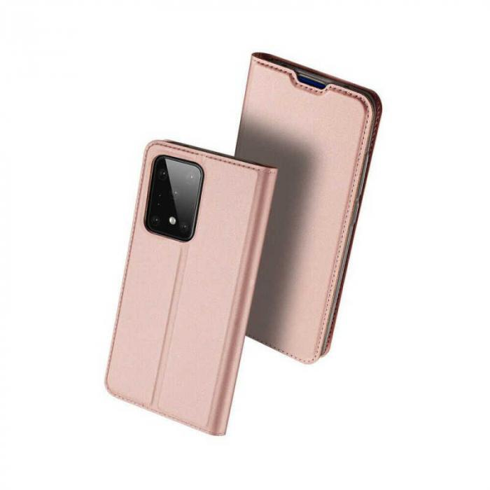 Husa Samsung Galaxy S20 Ultra 2020 Toc Flip Tip Carte Portofel Roz Piele Eco DuxDucis [0]