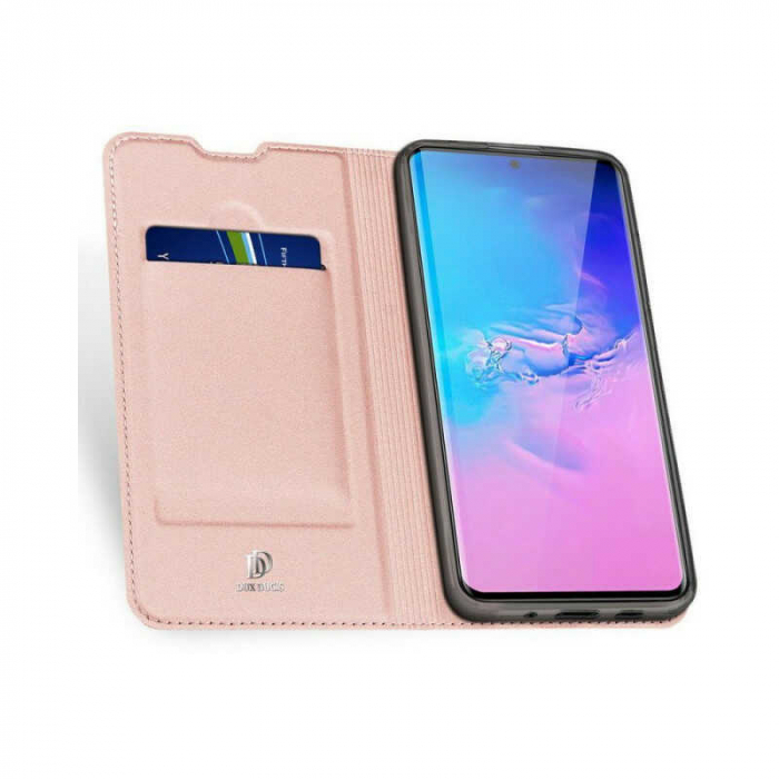 Husa Samsung Galaxy S20 Ultra 2020 Toc Flip Tip Carte Portofel Roz Piele Eco DuxDucis [1]