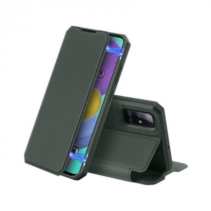 Husa Samsung Galaxy S20 Ultra 2020 Toc Flip Tip Carte Portofel Verde Piele Eco X-Skin 0