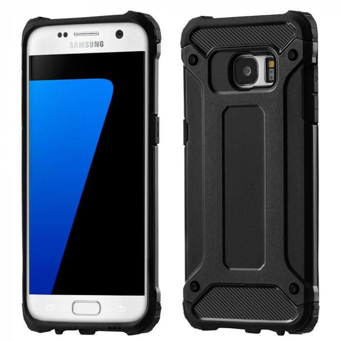 Husa Samsung Galaxy S7 Silicon Antisoc Negru Hybrid Armor 0