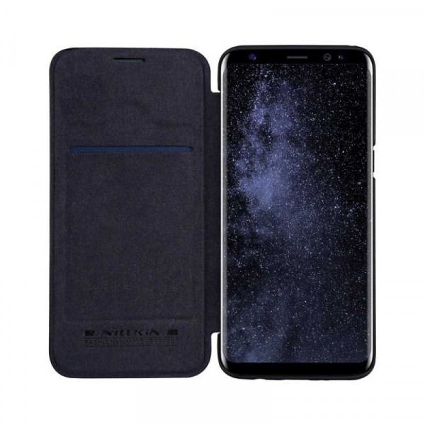 Husa Samsung Galaxy S8 2017 Negru Toc Flip Nillkin Qin Piele Eco Premium Tip Carte Portofel 2