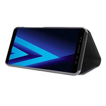 Husa Samsung Galaxy S9 Plus 2018 Clear View Flip Toc Carte Standing Cover Oglinda Negru 2