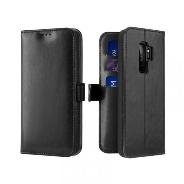 Husa Samsung Galaxy S9 Plus 2018 Toc Flip Tip Carte Portofel Negru Piele Eco Premium DuxDucis Kado 0