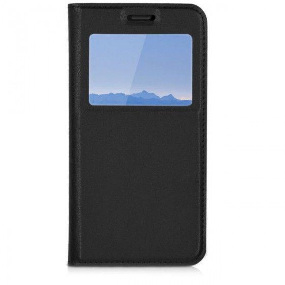 Husa Samsung S7 Neagra Portofel cu Fereastra Carte Flip Book cu Inchidere Magnetica