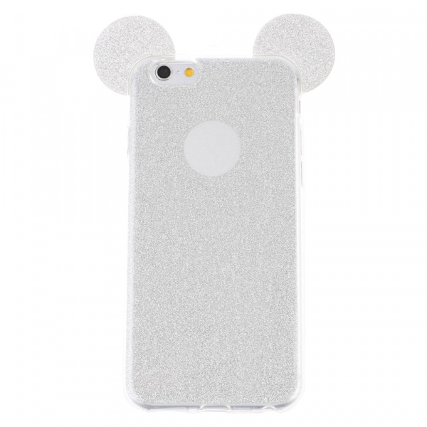 Husa iPhone 7 Plus / iPhone 8 Plus Silicon TPU Carcasa Urechi Sclipici Silver 2