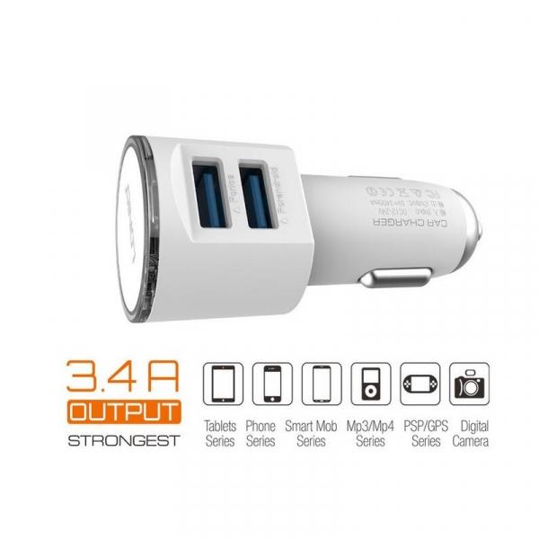 Incarcator Auto Bricheta Premium Quality Ldnio 3.4 A Fast Charge Cu 2 Porturi USB + Cablu Inclus 3