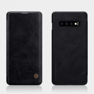 Husa Samsung Galaxy S10 Plus 2019 Negru Toc Flip Nillkin Qin Piele Eco Premium Tip Carte Portofel1