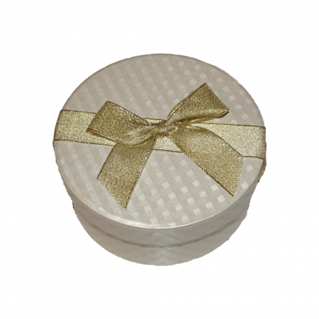 Aranjament trandafiri de sapun albastri si ivoire in cutie rotunda gold2
