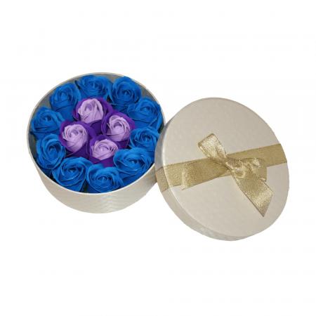 Aranjament trandafiri de sapun mov si albastri in cutie rotunda gold [1]