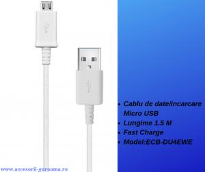 Cablu de date / incarcare Micro USB la USB 1.5M lungime Fast Charge Alb ECB-DU4EWE0