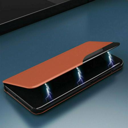 Husa Activa Xiaomi Redmi Note 9 Pro Max Tip Carte Flip Smart View Portocaliu [3]