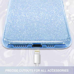 Husa Apple iPhone 11 Color Silicon Sclipici-Albastru1