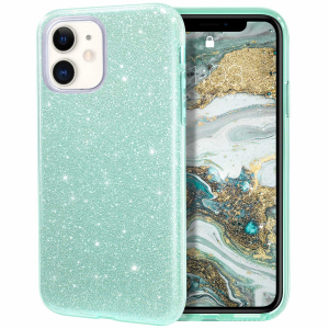 Husa Apple iPhone 11 Color Silicon Sclipici Verde0