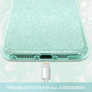 Husa Apple iPhone 11 Color Silicon Sclipici Verde1