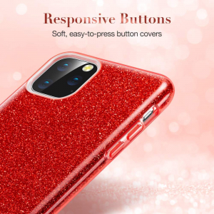 Husa Apple iPhone 11 Color Silicon Sclipici Rosu6