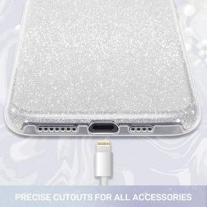 Husa Apple iPhone 11 Color Silicon Sclipici Argintiu Silver1