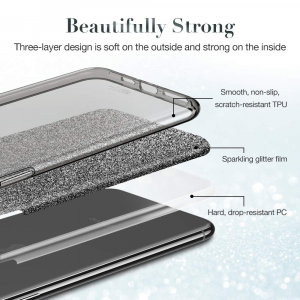 Husa Apple iPhone 11 Color Silicon Sclipici Argintiu Silver2