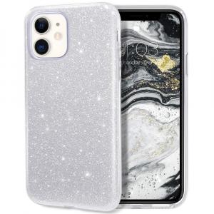 "Husa Apple iPhone 11 6.1"" Color Silicon TPU Carcasa Sclipici Argintiu Silver0"