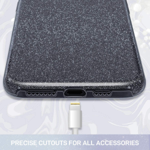 Husa Apple iPhone 11 Color Silicon Sclipici Negru1