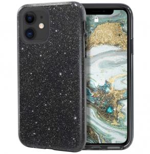 Husa Apple iPhone 11 Color Silicon Sclipici Negru0