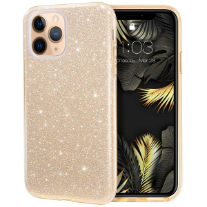 "Husa Apple iPhone 11 Pro 5.8"" Color Silicon TPU Carcasa Sclipici Auriu Gold0"