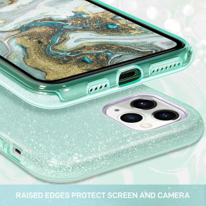 "Husa Apple iPhone 11 Pro 5.8"" Color Silicon TPU Carcasa Sclipici Verde2"