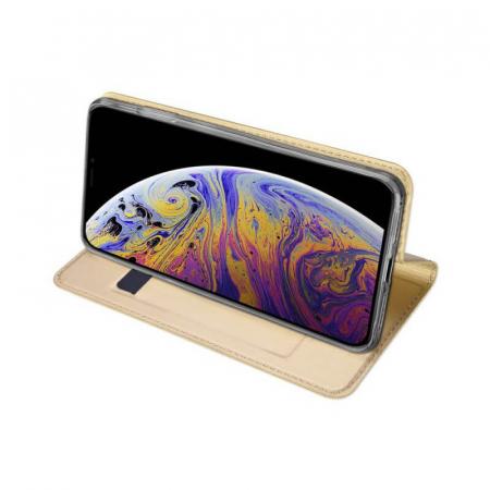 Husa Flip Apple iPhone 12Pro Tip Carte Auriu Skin DuxDucis [2]
