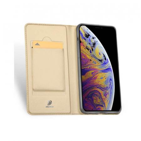 Husa Flip Apple iPhone 12Pro Max Tip Carte Auriu Skin DuxDucis [1]
