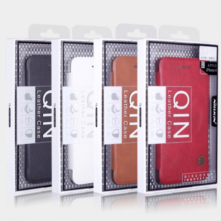 Husa Flip iPhone 12 Rosu Tip Carte Magnetica Nillkin Qin [5]
